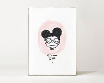 Print / Poster DREAM BIG MOUSE illustration - A4 size