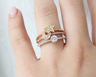 Moon, Star & Sun Ring Set, Paved Stacking Ring in Rose Gold , Yellow Gold and Rhodium