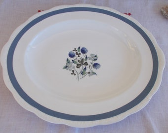 Large size ALFRED MEAKIN Blue Clover Platter 16 1/2 x 13 3/4 inches from England  White and Cobalt Blue Floral Pattern 1940s Porcelain