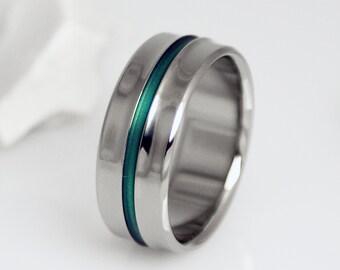 Titanium Wedding Band, Green Titanium Ring / Unique Custom Handmade Titanium Band / Engagement Promise Ring / Mens or Womens Titanium Ring