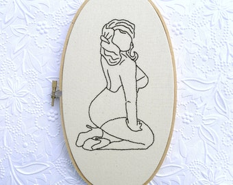 Pin Up Girl Art Hand Embroidered Wall Decor Sexy Plus Size Lingerie Hoop Art Monochrome Design Retro Decor
