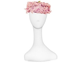 Pink Pillbox Hat, Pearl Trim, Vintage 1950s, Floral Hat, Hat with Pearls, Pink Flowers, Pink floral hat, 1960s pillbox hat, Pink vintage hat