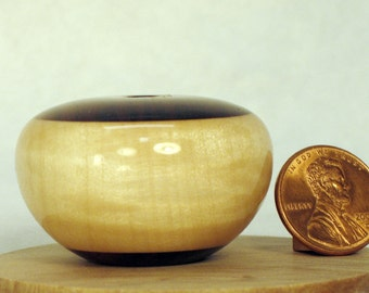 Rosewood and Silver Maple Turned Wood Miniature Seedpot