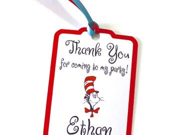Set of 12 Thank You Party Favor Tags, Cat in the Hat Personalized Happy Birthday Party Favors Thank You, Gift Tags, Party Supplies