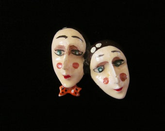 Vintage Celluloid Brooch Two Faces Pierrot Clown Handpainted Plastic Man and Woman Mime Couple Pin