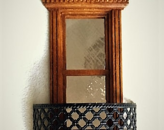 Dollhouse Miniature 1:24 or half inch scale Balcony. 'Wrought iron' metal. OOAK.