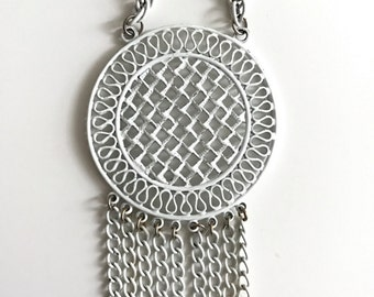 1960s White Medallion Necklace