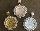 Round Rhinestone pendant setting for necklaces, wedding bouquets  Silver, Rose Gold, Gold Lead and Nickel Free Wedding Gift