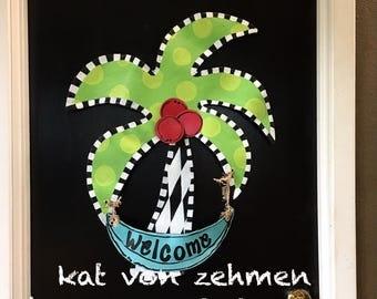 Screen Wire Summer Beach Lake Bright Palm Tree with Coconuts Welcome Door Hanger, Summer Door Hanger