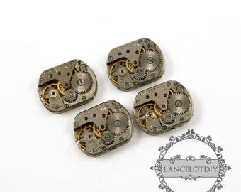 13x18mm real vintage used steam punk rectangular watch gear movement antiqued silver cabochon DIY supplies 1830056