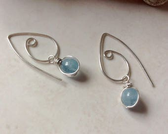Contemporary Pale Blue Aquamarine Stone Drop Silver Wirework Earrings