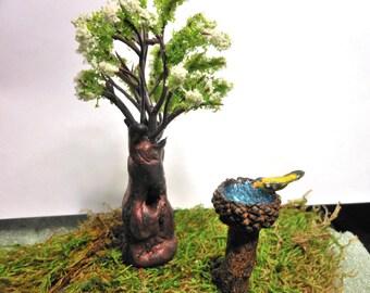 Birdbath/Goldfinch-Old Stump Tree-Set of Polymer Clay Stump & White Flowering Tree with Polymer Clay Bird on Birdbath...