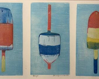Lobster Buoys Block Print