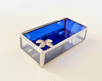 Navy Blue Glass Box, Glass Box, Glass Display Box, Glass Jewelry Box, Jewelry Box, Gift For Girlfriend, Bridesmaid Gift
