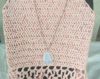 Juniors Pinks Crochet Boho Style Halter Top with Necklace