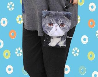 Cat, cross body phone case, cat bag, cat smartphone pouch, iPhone 4s pouch, iPhone 5 or 6 pouch, Note 3 pouch, cat purse, PH 1177