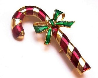 """Gerry's Candy Cane Xmas Brooch Pin Red Gold Stripes Green Bow 2"""" Vintage"""
