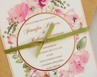Rose Gold Foil Wedding Invitations. Modern Floral Wedding Invitation. Metallic Rose Gold Foil. Garden Wedding.  Vintage Wedding.  Blush Pink