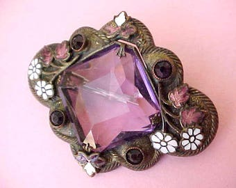 """Gorgeous Antique Enameled Brooch with Huge Faceted Purple Glass """"Stone"""" and Enameled White Daisies"""