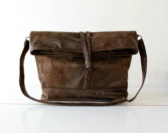 Vegan messenger bag,foldover crossbody,FAUX LEATHER in chocolate brown,Knot,Adjustable strap.Minimalist.Handmade. gift for her. Womens gift.