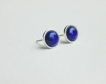 Blue lapis lazuli gemstone sterling silver earrings studs