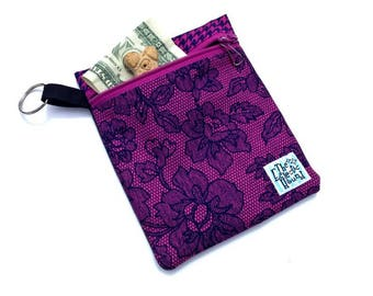 Orchid Lace Clip-on Dog Leash Accessory Pouch - Dog Treat Bag - Dog Poop Bag Holder