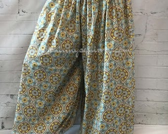 Light turquoise cotton harem pants for belly dance and renaissance
