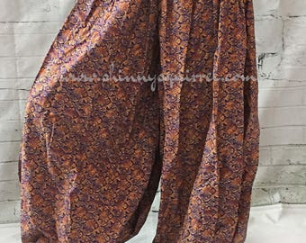 Blue and orange cotton printed brocade harem pants for belly dance, renaissance, ATS, pantaloons