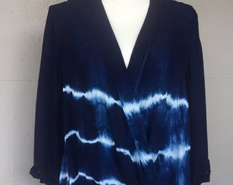 Indigo Shibori Hand-dyed Cross Front Blouse - totally unique one of a kind!