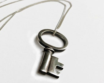 Sterling Silver Tiny Antique Key Charm Necklace
