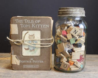 4 First Edition Beatrice Potter Books The Tale of Two Bad Mice, Jeremy Fisher, Flopsy Bunnies and Tom Kitten // Repurpose