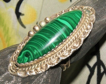 MUSEUM QUALITY NAVAJO Ring Sterling Malachite c1978