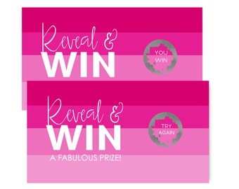 Pink Stripe Party Scratch Off Cards, Baby Shower Activity, Bridal Instant Win, Printed Games, Lottery Set of 25 or More (PINKSRSOFF)