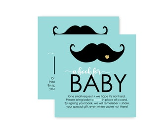 Neat Bring a Book for Baby Mustache - Invitation Insert Card - Mint Gold & Black - Fun Shimmer - Printed Set of 25