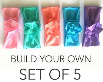 Bundle & Save // Build Your Own Set of 5 // Flower Jersey Headband // Baby Girl Headband // Infant // Newborn // Adult // Floral :FL