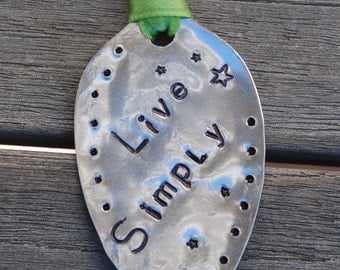 Book Mark or ORNAMENT // LIVE SIMPLY hand stamped Spoon // With Lime Green Ribbon