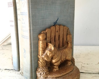 Vintage Scottie Bookends Gold Midcentury Bookends