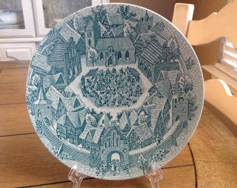 "Nymolle Denmark 8"" Plate by Artist Hoyrup Old Days in Denmark Banquet Dinner in the Walled City"