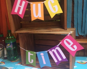 HUG TIME Rainbow Banner for Birthday Party Cake Table / Display Table / Photo Prop