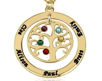 Gold Family Tree Necklace Charm Custom Engraved & Swarovski birthstone Crystal Circle names Pendant New Personalized mothers Jewelry Gift