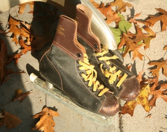 Spring Cleaning - Kids, Vintage Black and Brown Ice Skates, Winter Sports, Christmas, Winter Decor, Black Figure Skates, Outdoor Decor
