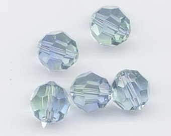 Beautiful!  Eight Swarovski crystals special color provence lavender-chrysolite blend!  art 5000 - 10 mm