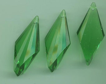 Three beautiful acrylic pendants made in Germany - green - spear-shaped - 45 x 20 mm