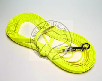 """Neon Yellow -   Waterproof Long Line - 1/2"""" (12mm) wide Genuine Biothane - Tacking Line Recall Leash - Choice of hardware and length"""