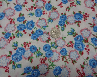 """100% Cotton Vintage Blue Roses Fabric -41"""" x 72""""- Apparel Fabric--Quilting Fabric"""
