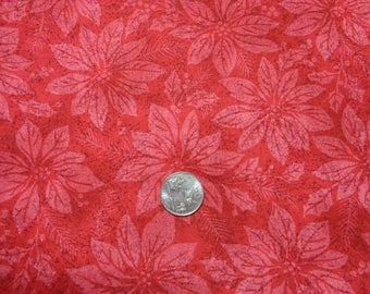 """100% Cotton Red Flower Fabric -42"""" x 24""""- Apparel Fabric--Quilting Fabric"""