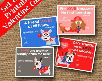 Cute Dog Valentines | Christian Valentines | DIY PRINTABLE | Valentine Puppies | Scripture, Bible Verse Cards | SET of 4 | Instant Download