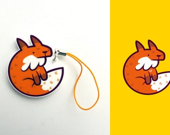 Acrylic Cute Animal Fox Foxy Charm Keychain with Phone Strap