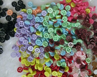 100pcs 6mm Tiny resin Round Buttons for Baby/Babydoll Clothing colorful