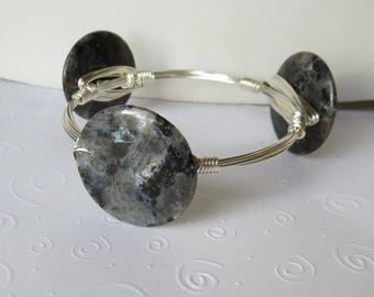 "Larvikite Stone Silver Bangle Bracelet ""Bourbon and Bowties"" Inspired"